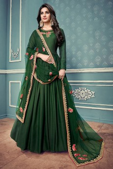 Floral Embroidered Anarkali Suit In Forest Green Art Silk