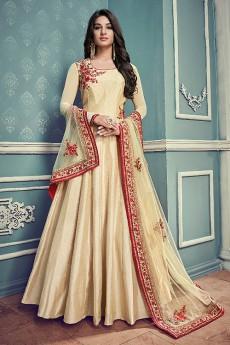 Floral Embroidered Anarkali Suit In Beige Art Silk