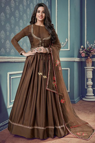 Floral Embroidered Jacket Style Anarkali Suit In Dark Chocolate Brown Art Silk