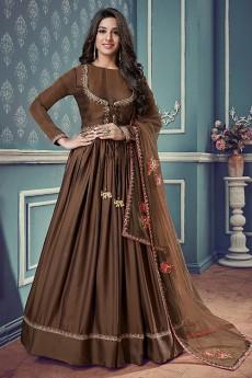 Floral Embroidered Jacket Style Anarkali Suit In Dark Chocolate Brown Art Silk