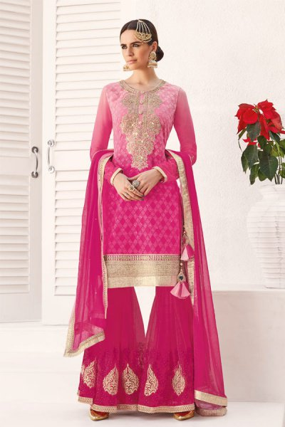 Embroidered Sharara/Gharara Suit In Ombre Pink Georgette