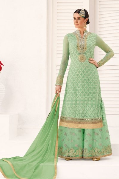 Embroidered Sharara/Gharara Suit In Pastel Green Georgette