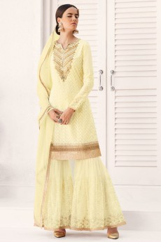 Embroidered Sharara/Gharara Suit In Pale Yellow Georgette