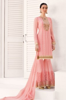 Embroidered Sharara/Gharara Suit In Pastel Pink Georgette