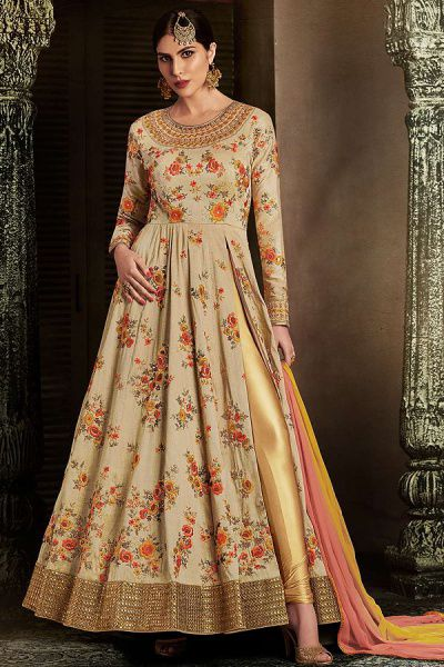 Side Slit Anarkali Suit With Floral Embroidery & In Beige Handloom Silk