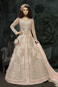 Front Slit Anarkali With Pants & Frill Skirt/Lehenga In Pale Peach