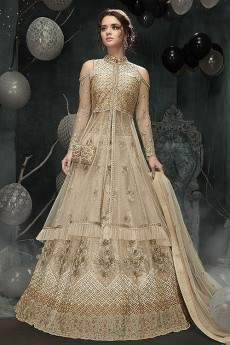 Beige Designer Lehenga With Cold Shoulder Collared Jacket Style Net Anarkali Kurti