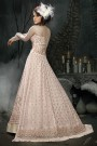 Back Trail Anarkali with Raw Silk Lehenga & Pants in Powder Pink Net with Zari Embroidery