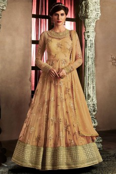 Floral Embroidered Anarkali Suit in Beige Brown Net
