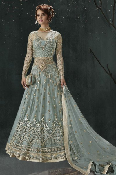 Designer Net Zari Embroidered Anarkali with Raw Silk Lehenga & Pants in Grey