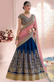 Navy Blue Pink Lehenga In Handloom Silk With Thread & Zari Floral Embroidery
