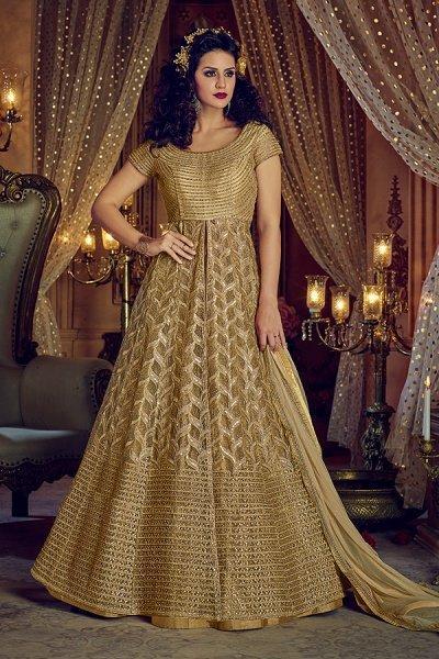 Beige Net Anarkali With Lehenga Skirt & Pants With Golden Zari Embroidery