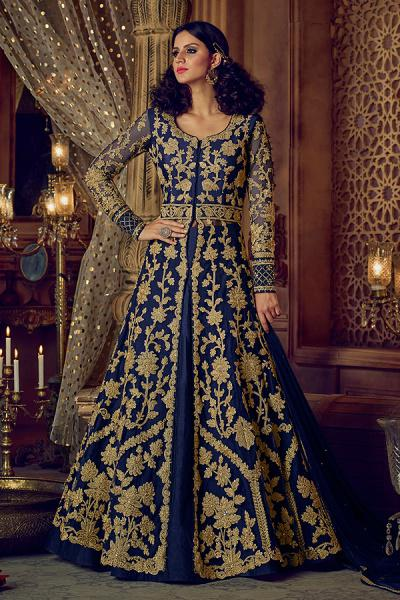 Navy Blue Anarkali With Lehenga Skirt & Pants With Zari Embroidery in Net