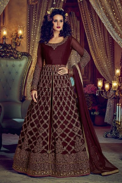 Embroidered Net Anarkali With Lehenga Skirt & Pants In Wine Colour