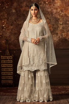 Floral Embroidered Stylish Sharara/Palazzo Suit In Off White Net