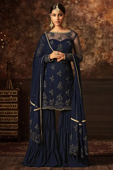 Floral Embroidered Sharara Suit In Navy Blue Net/Georgette