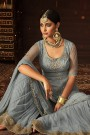 Floral Embroidered Sharara/Palazzo Suit In Powder Blue Net