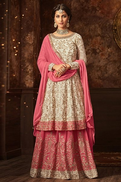 Zari Embroidered Sharara/Lehenga In Off White & Pink Georgette