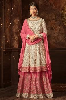 Zari Embroidered Sharara/Lehenga In Off White & Pink Georgette