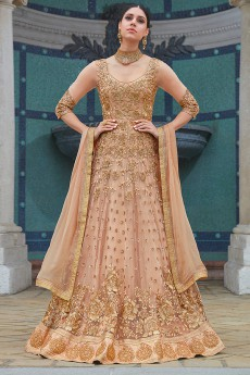Beige Net Floor Length Anarkali Suit With Floral Embroidery
