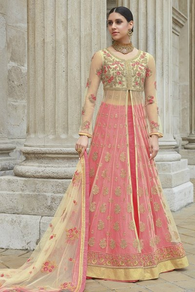 Beige Pink Net Anarkali Suit With Lehenga/Skirt & Pants