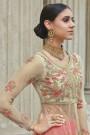 Beige Pink Net Anarkali Suit With Lehenga/Skirt & Pants