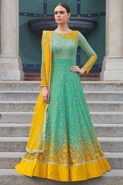 Stunning Sea Green Anarkali Suit With lovely Yellow Sequins embroidery Work