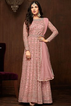 Blush Pink Net Anarkali Suit With Rich Embroidery