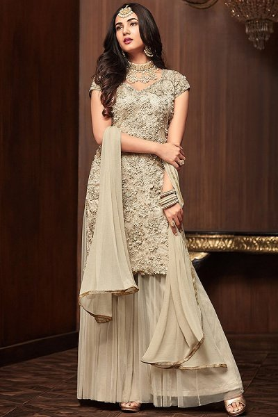 Ivory Sharara/Gharara Suit Embellished with Pearl Work in Net