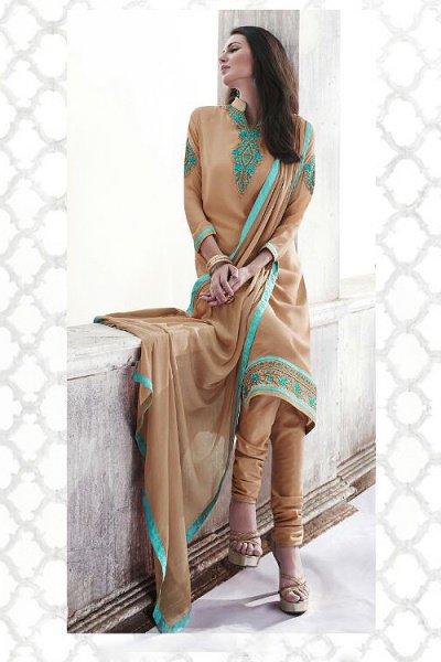 Sandy Brown Thread Embroidered Georgette Straight Style Salwar/ Churidar Suit