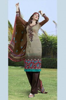 Light Brown Color Printed Pure Cotton Salwar Kameez
