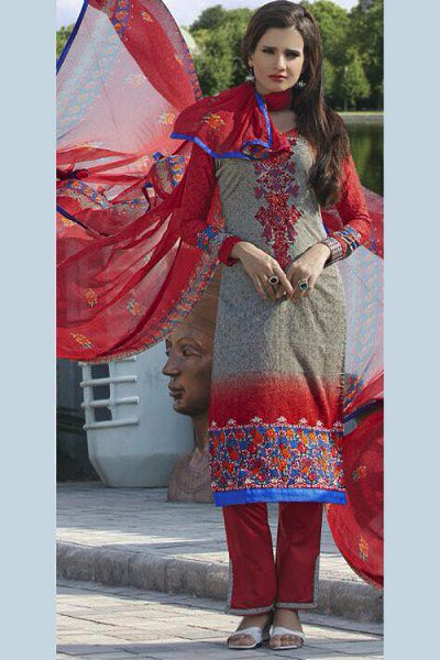 Greenish Grey Colour Printed Pure Cotton Salwar Kameez