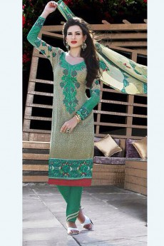 Olive Green Printed Pure Cotton Salwar Suit