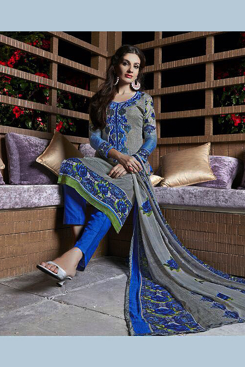 Light Grey Printed Pure Cotton Salwar Kameez