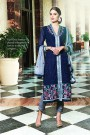 Navy Blue Embroidered Pure Georgette Suit