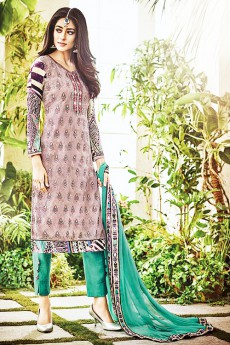 Multi Coloured Digital Print Pure Georgette Straight Cut Salwar Suit