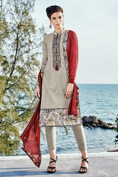 Light Pale Brown Chikankari Work Cotton Straight Cut Salwar Suit