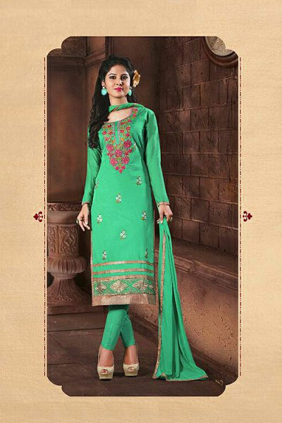 Green Embroidered Chanderi Cotton Churidar Salwar Kameez Suit