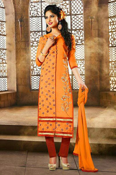 Orange Color Embroidered Chanderi Cotton Churidar Salwar Suit