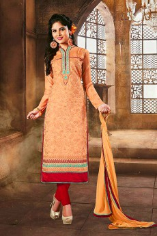 Light Orange Color Embroidered Chanderi Cotton Churidar Salwar Suit