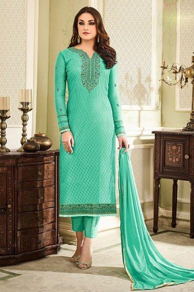 5fa4d3c4df37 Buy Designer Pant Style Salwar Kameez In Green Brasso Floral ...