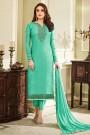 Designer Pant Style Salwar Kameez In Green Brasso Floral Embroidered