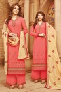 Coral Pink & Beige Embroidered Georgette Salwar / Palazzo Suit
