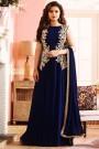 Royal Deep Blue Embroidered Georgette Long Anarkali Suit