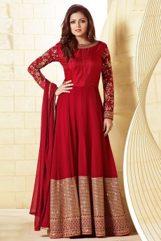 Glam Red Intricate Embroidered And Sequins Work Georgette Long Anarkali Suit