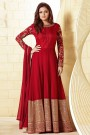 Red Anarkali Suit with Embroidery & Sequins Work in Georgette