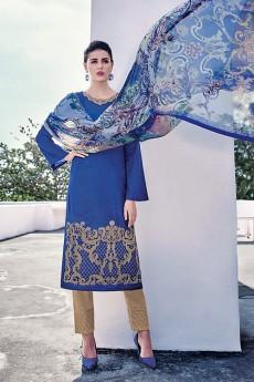 Royal Blue Embroidered Cotton Jacquard Designer Salwar Suit