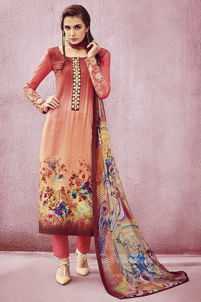 Beautiful Printed Multi Color Cotton Straight Cut Salwar Suit