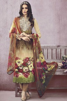 Floral Digital Print Salwar Suit With Thread Embroidery in Cotton