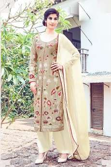 Beige Embroidered Cotton Satin Palazzo Salwar Kameez Suits